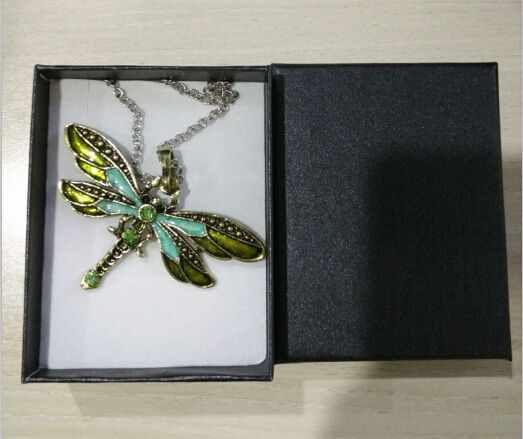 (С КОРОБКОЙ) Стрекоза Ожерелье и Бабочка Ожерелье Старинных Эмаль Кристалл Ожерелье Животных Подвеска для Женщин
