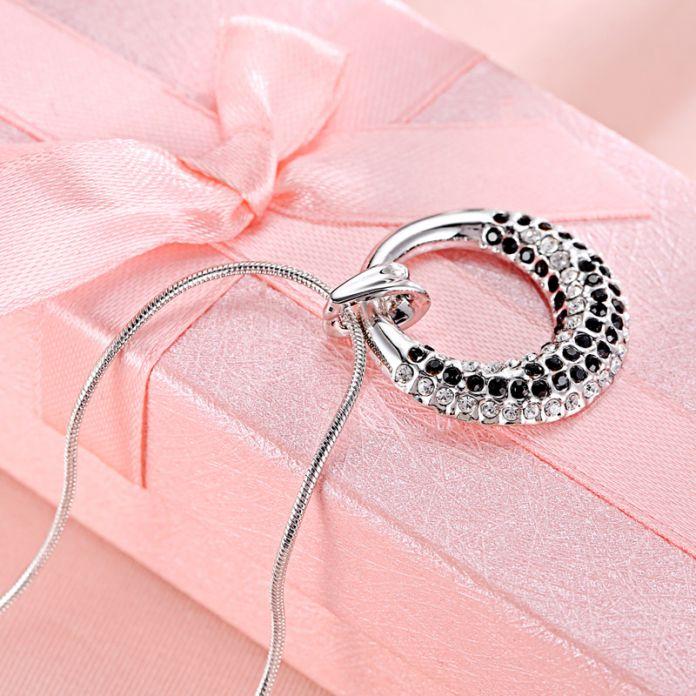 Элегантная Мода Кристалл с Swarovski Ожерелье Сделано С SWA Elements Подарок На День Рождения Для Ее Платиновым Покрытием