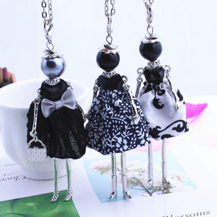 Женская Новый Дизайн Прекрасный Черная Девушка Кукла Ожерелье Ткань Бантом Платье Принцессы на Цепь Длинное Колье, Ювелирные Изделия магазин Подарков