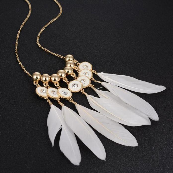 Белое перо длинные ожерелья шкентеля летний стиль золото бусины блестящий горный хрусталь модный дизайн ювелирные изделия костюм богемия ожерелье