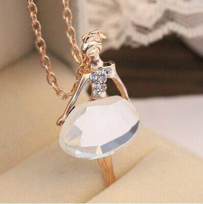 Мода 2015 модный симпатичные ювелирные изделия женский полный дрель балерина кристалл ожерелье длинный свитер цепи Necklaces