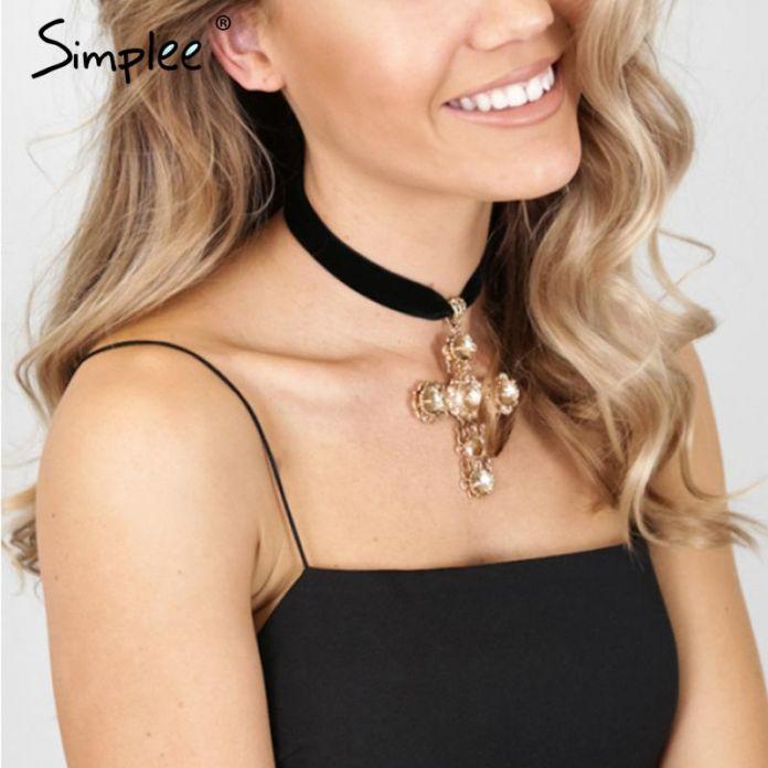 Simplee Панк золотой крест кулон ожерелье цепь Черный колье бархат старинные ожерелья женщины аксессуары Сексуальное короткое ожерелье bijoux