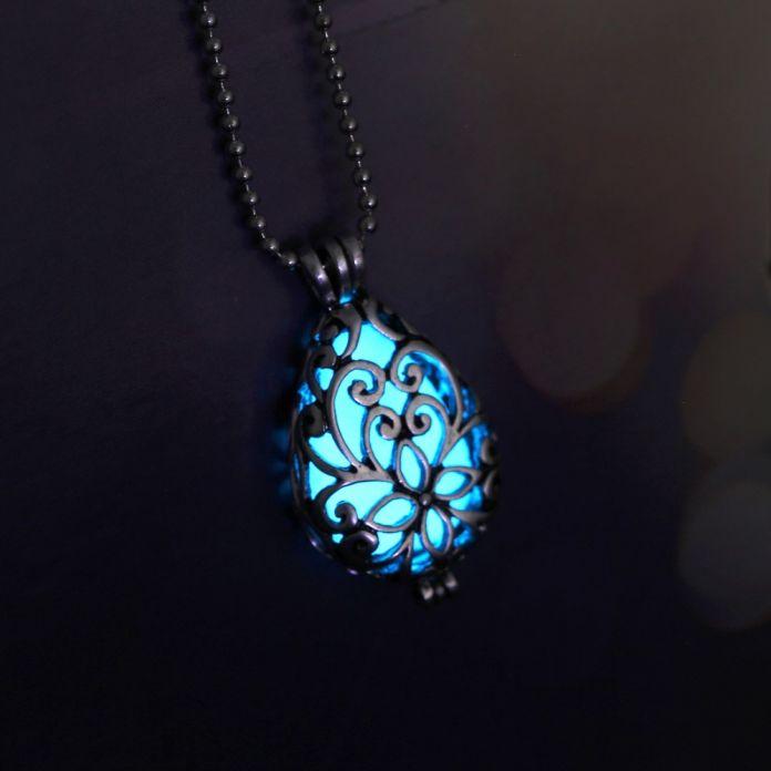 Магия медальон клетке слеза фея светятся в темноте масло диффузор световой подвески ожерелье