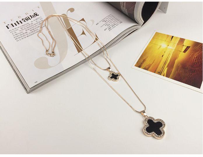 Корея ветер Four Leaf Clover Подвеска Свитер цепи длинное Ожерелье, двойные слои цепи двойной кулон Ожерелье шарма женщины