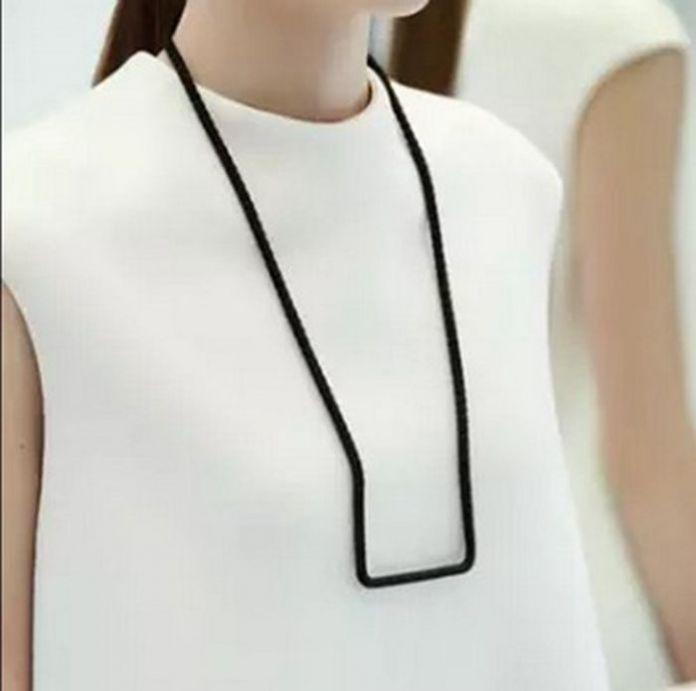 2016 минималистский геометрическая лабиринт u-слово длинный отрезок веревки хлопка тканые ожерелье для женщин