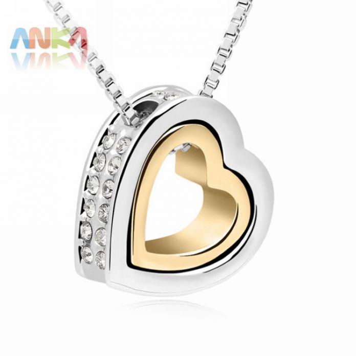 2016 dendy классический 18 К золото + белый позолоченные двойное в форме сердца любовь ожерелье кристаллы из кристаллов сваровски # 99263