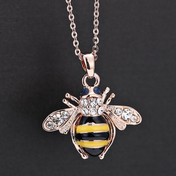 Бесплатная Доставка Золотая Пчела 18 К Розовое Золото Ожерелье Уникальный Австрия Элементы Кристалл Ожерелья Для Женщин Ювелирные Изделия Оптом