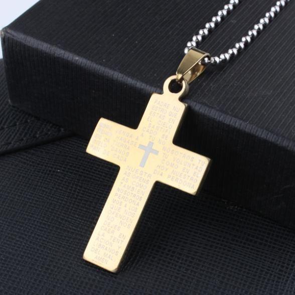 Библия Крест кулон ожерелья цепи шарика для женщин людей Нержавеющей Стали 316L ожерелье серебро золото черный