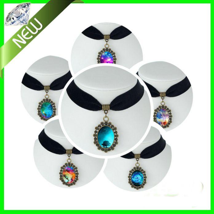 18 стиль луна галактика ожерелье млечный путь галактика туманность космос старинное серебро кулон позолоченные цепи ожерелье лента колье ожерелья