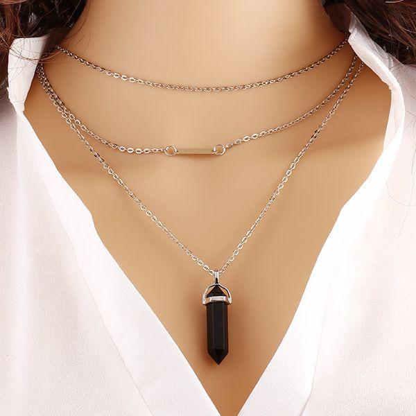 Воротник 2015 многоцветный кварц ожерелья кулон натуральный камень цепочки кварцевые бирюзы агат аметист ожерелье для женщин