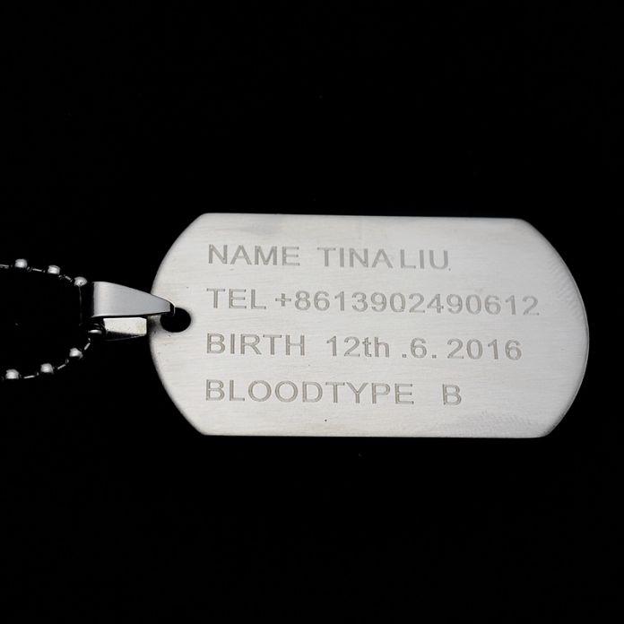 Армейский металлический жетон, 2 штуки. Длина цепочки 60 см.