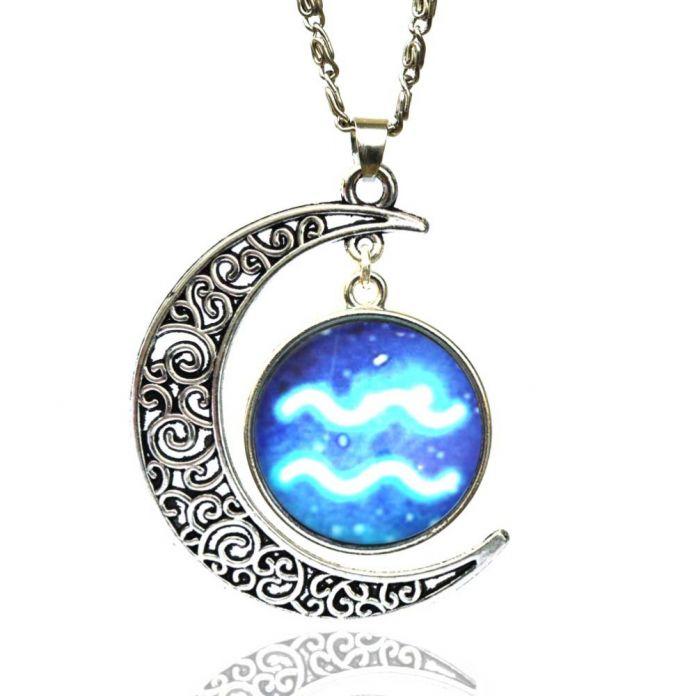 Стекло Знак Зодиака Кулон Цепи Ожерелье Созвездие Женская Ювелирные Изделия