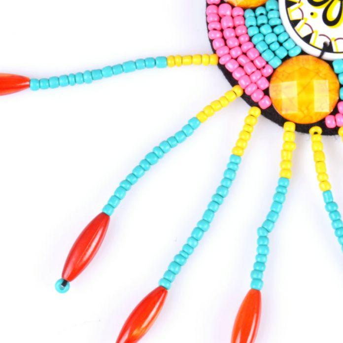 Ручной Вышивки Бусы Этнические Шаблон Бисероплетение Большой Себе Ожерелье модные Ювелирные Изделия Бисер Воротник Колье Для Женщин