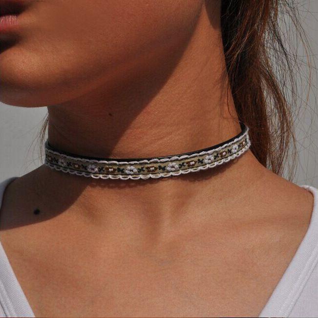Ручной Улице Избили Стиль Колье Горячей Продажи Этнических Переплетения Вышивка Chocker Ожерелье Для Женщин Fine Jewelry Bestfriend Подарок