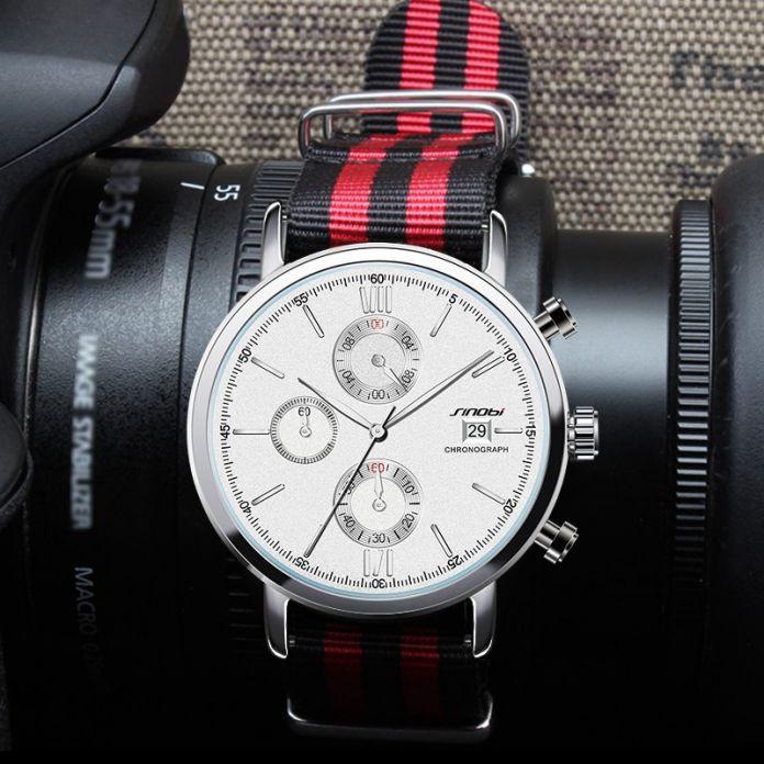 SINOBI Моды Военный Хронограф Мужские Часы НАТО Ремешок Нейлон Ремешок Для Часов Топ Люксовый Бренд Мужчин Кварцевые Часы Джеймс Бонд 007