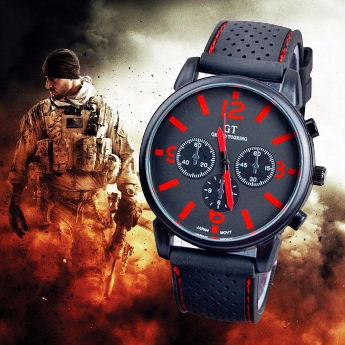 Роскошный Красный часы мужчины спорт мода гонки мужские кварцевые наручные часы Армия Гонки Силы Военно Спорт Мужчины Директор Часы