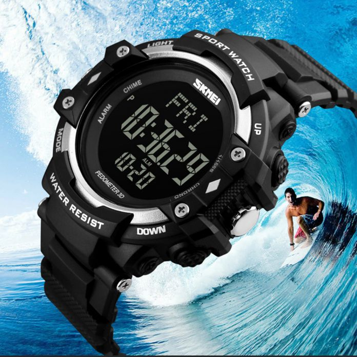 SKMEI Бренд мужской 3D Шагомер Heart Rate Monitor Калорий Трекер Цифровые Часы Человек Спорт На Открытом Воздухе Мужские Часы PU ремешок часы