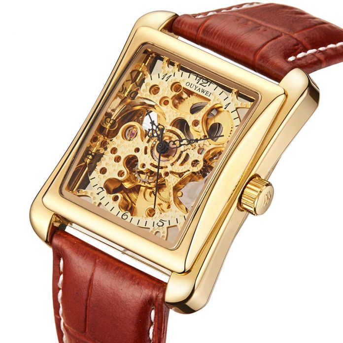 Brnd OUYAWEI Механические Часы 2016 OUYAWEI марка Наручные Часы Кожаный Ремешок Мужчины Часы Самостоятельной Ветер Скелет Часы Для Мужчин