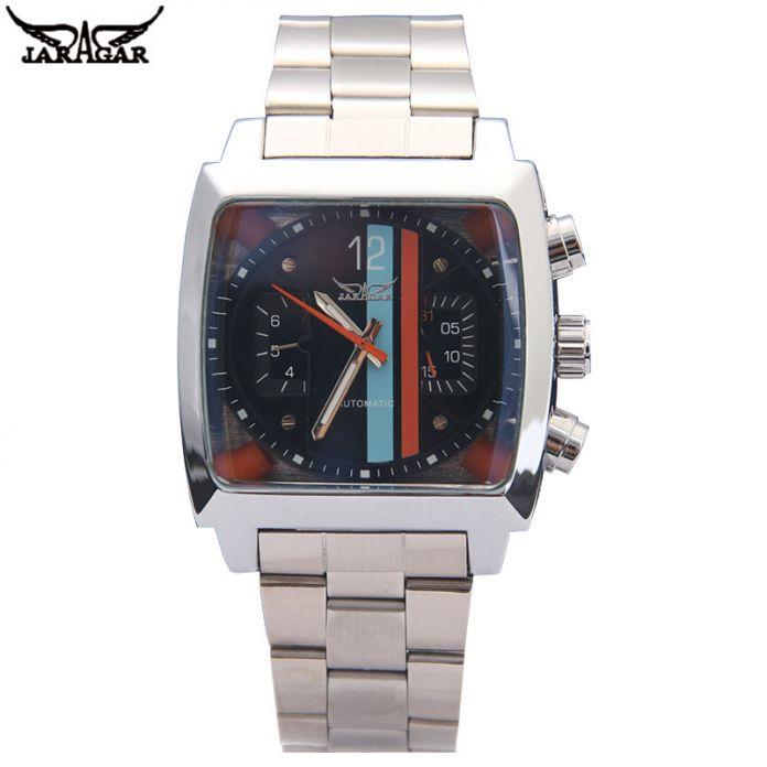 Мужчины механические часы Jaragar марка роскошных людей автоматическая стальной браслет часы горячая мужской черный авто дата наручные часы