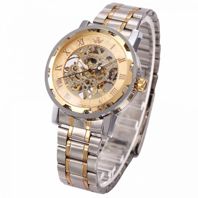 2016 лучших люксовый бренд SEWOR золото мужчины скелет механические часы мужчины прозрачный полный стали мужские часы Relogio erkek коль саати