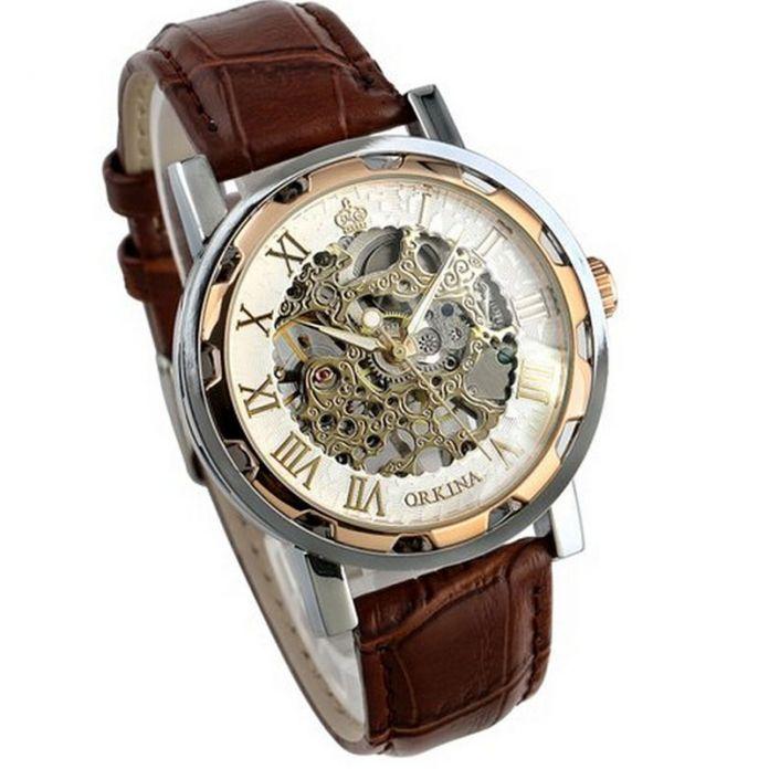 Прекрасный Подарок Роскошные мужские часы Кожаный Ремешок Из Нержавеющей часы скелет коричневый Механические Часы June01