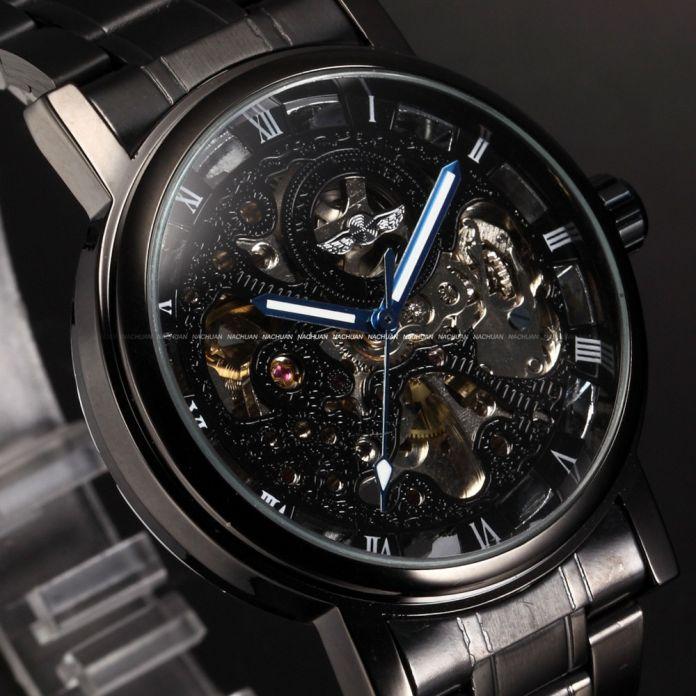 Победитель Скелет Черный Нержавеющей Стали Синие Руки Световой Мужские Часы Лучший Бренд Роскошных Часов Мужчины Montre Homme Автоматические Часы