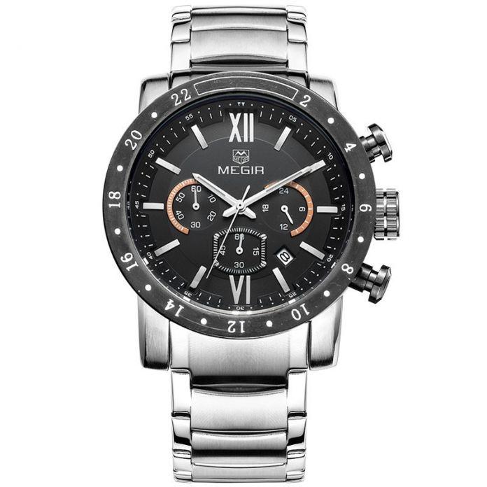 2016 Лучший Бренд Класса Люкс Relogio MEGIR Хронограф 6 Руки 24 Часов Армии Военные Часы Мужские Кварцевые Часы Megir Хронометр часы