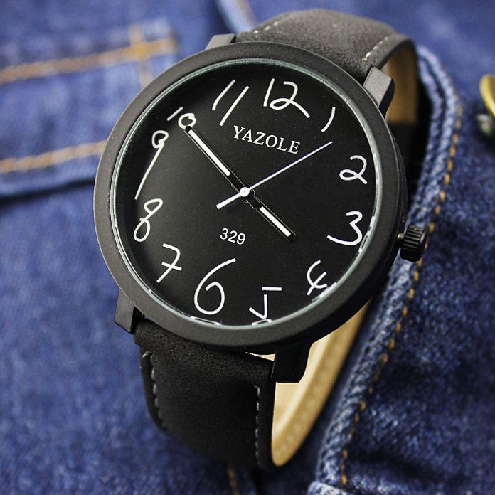 100% Новый Стильный YAZOLE № 329 Классический Большой Циферблат Кожа PU Кварцевые Подсветка Наручные Часы для Мужчин Мужской Моды