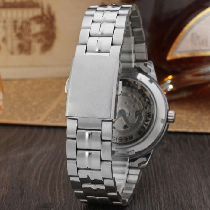 Роскошные мужские золотые полный стали прозрачная часы скелет автоматические механические часы стимпанк часы мужчины Relogio Masculino 2016