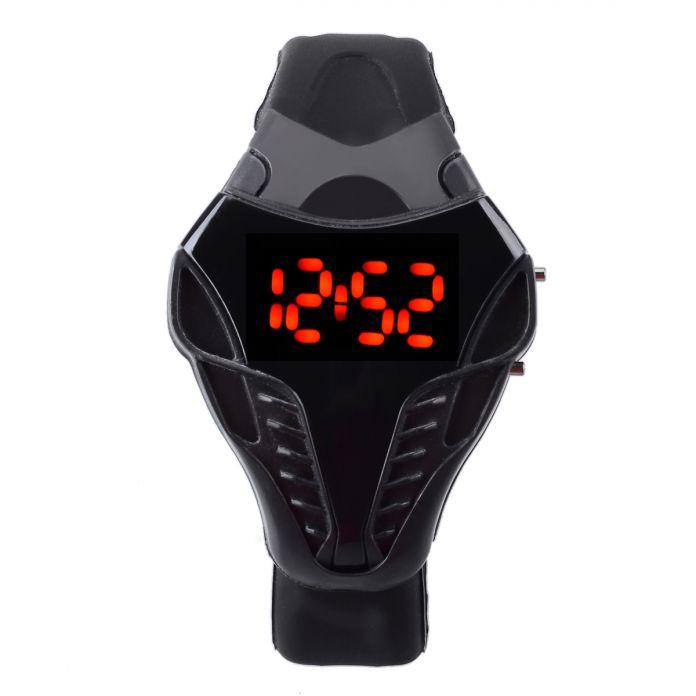 Горячая Продажа мужская Мода Кобра СВЕТОДИОДНЫЙ Цифровой Треугольник Наберите Силиконовые Спортивные Часы Черный мужские Наручные Часы Бизнес Мужчины наручные часы