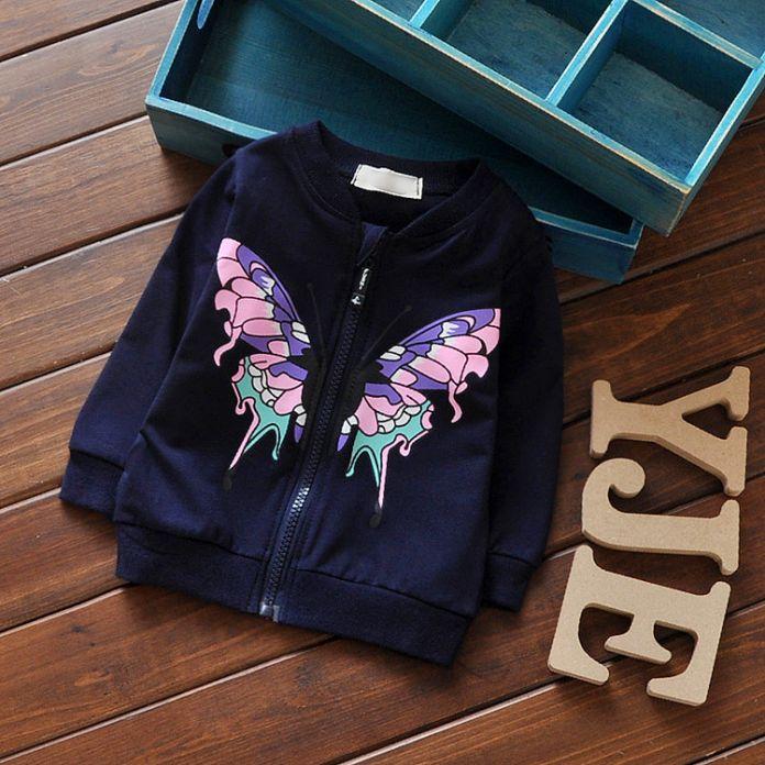 Детские Девушки Весна и осень Бабочка Вышивка или Печати Куртка На Молнии Пальто Для 60-90 см Высота Дети Кардиган G116