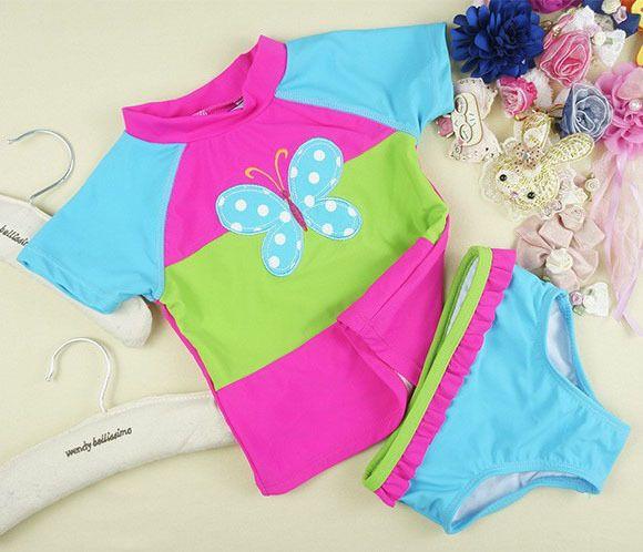 Новорожденных девочек бабочка вышивка swimswear дети купальник дети купальники девочки пляжной одежды купальный костюм для девочки