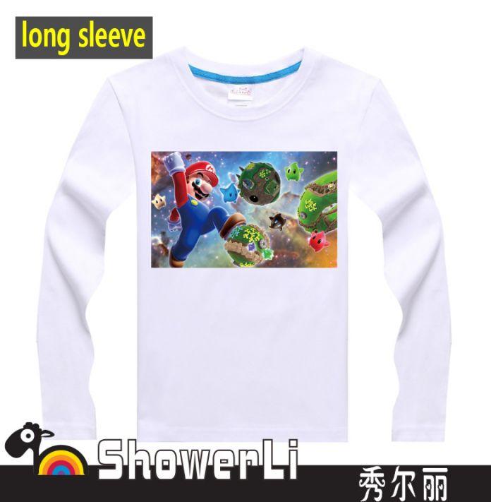 Хлопка с длинным рукавом детей рубашки, Милый мультфильм футболки, Супер марио брат мальчики девушки футболка рисунок детской одежды