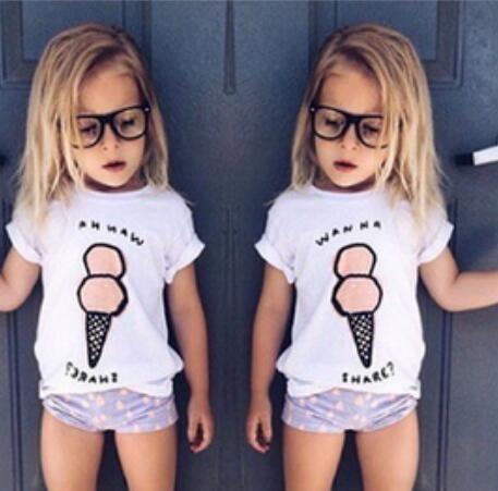 2016 Новые летние дети футболки для мальчиков девочек Футболки детская одежда Дети мороженое печати Футболка CS074
