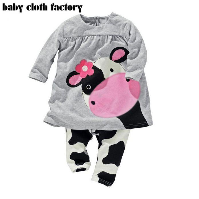 Розничная осенние девушки детская одежда Маленькая Корова моделирование одежды хлопок случайных длинными рукавами футболки + Брюки костюм спортивный костюм в наличии