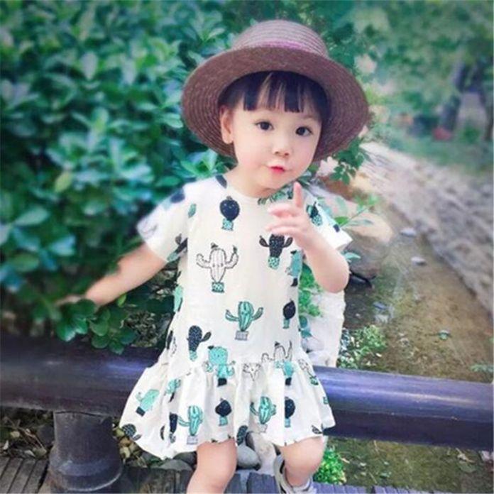 Дети Детская Одежда Кактус Рисунок Платье Младенческой Лето Футболка Мода Дети Брюки Хлопок Одежда Для Мальчиков Девочек