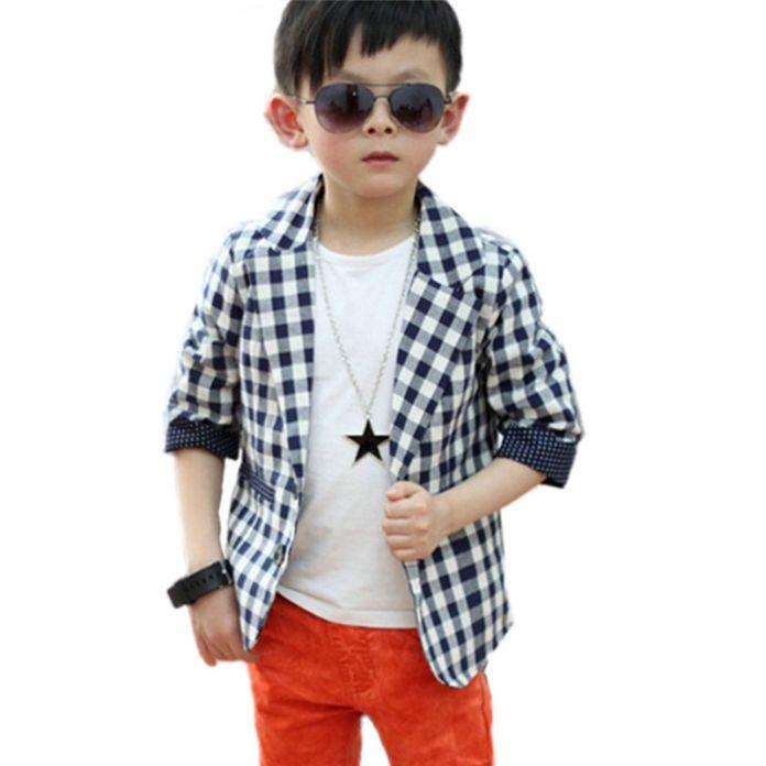 Дети Мальчики Пледы Проверьте Dots Повседневная Пиджак Пальто Костюм Детей 2-7 Т