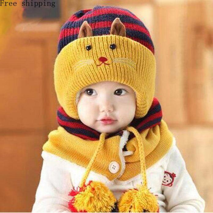 Тепло! 2016 Зимние Детские Hat Милые Девушки Мальчик Новорожденный Набор головы Шляпу Шарфы Два Комплекта детской Зимние Шапки Бесплатная Доставка