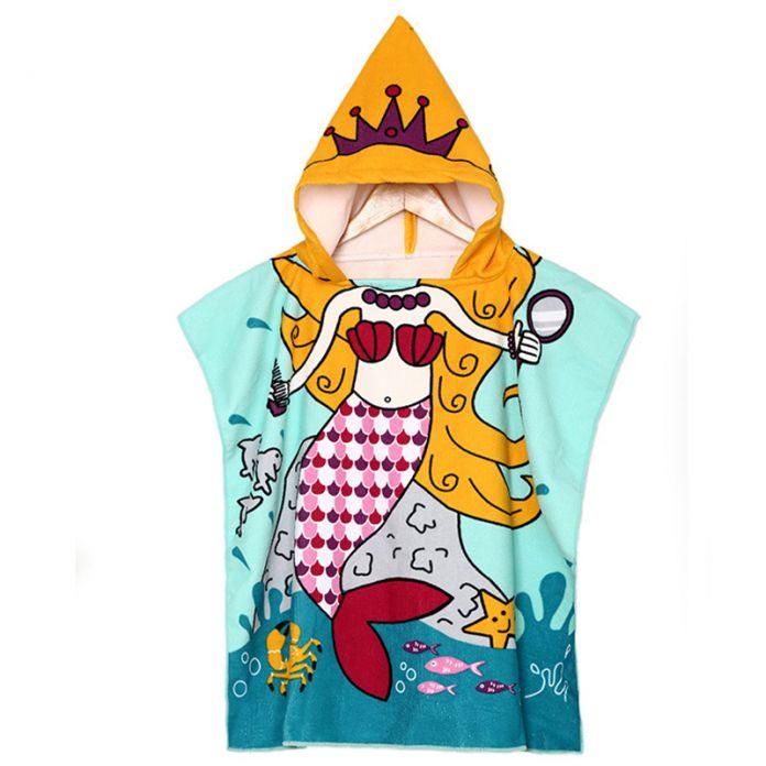 Ребенок Халат Ребенок Хлопок Пончо С Капюшоном Полотенце Мультфильм Русалка Дети Банный Халат Девушки Пижамы Принцесса Девушки Плавать Пляжная Одежда