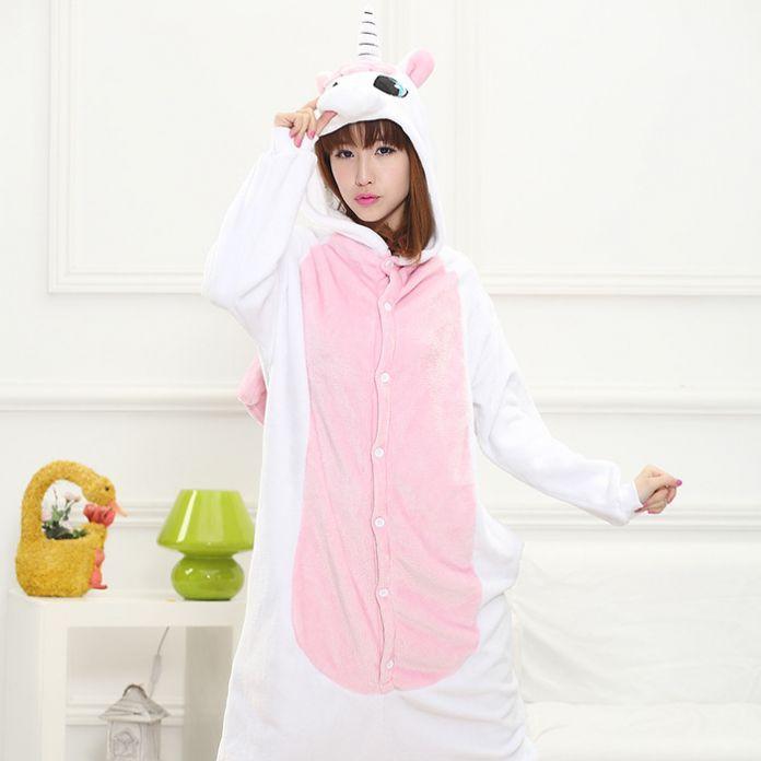 Единорог розовый дизайн синий мультфильм животных косплей Boy девушки фланель шпалы женщина мужчина Pijamas пижамы с капюшоном стиль