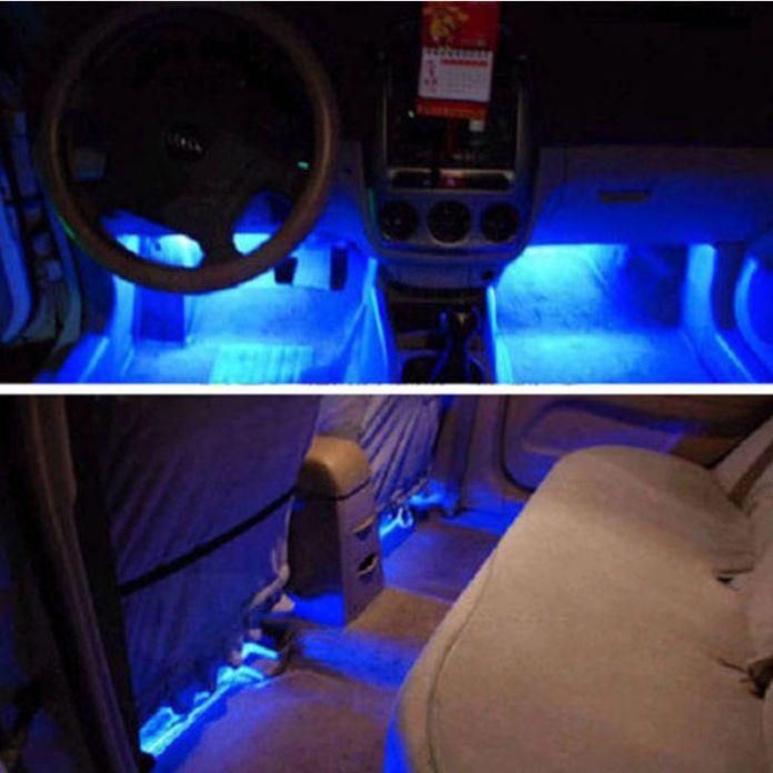 4 Шт. Стайлинга Автомобилей Интерьера Парковка Декоративный Свет Passat 3 Светодиодов светодиодные Лампы Двери Автомобиля Заряда 12 В Glow 4in1 Атмосфера Синий свет