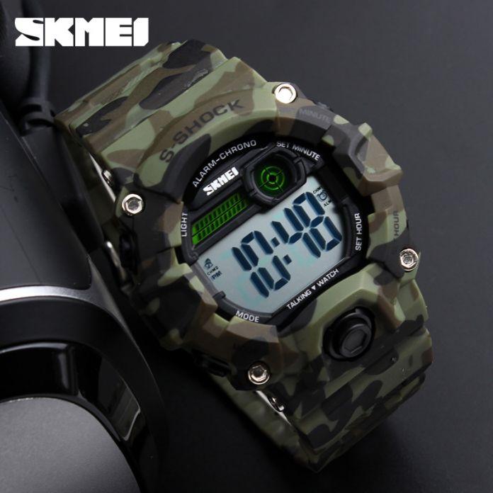 SKMEI Новые Популярные мужские Часы Открытый Спорт Цифровые Часы Многофункциональные Говорящие Часы Music Alarm Clock LED Наручные Часы