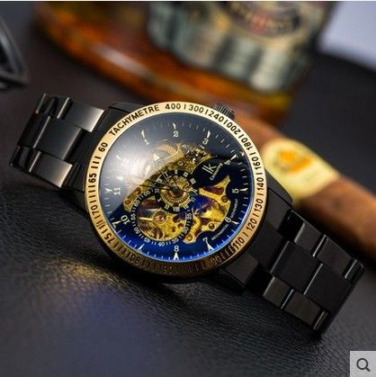 Новый 2016 Ik окраска Моды Механические Часы Скелет Авто Нержавеющей Стали мужские Часы Наручные Часы Montre Homme