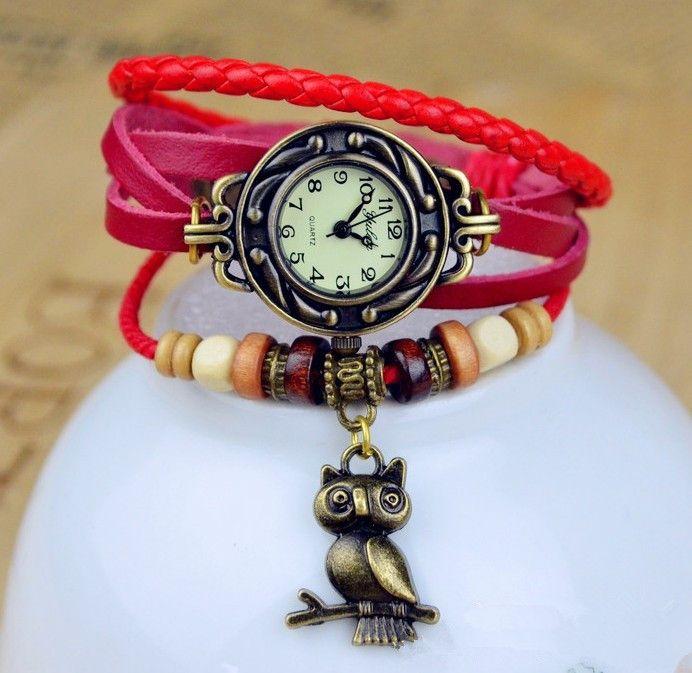 Кварцевые женские наручные часы с совой