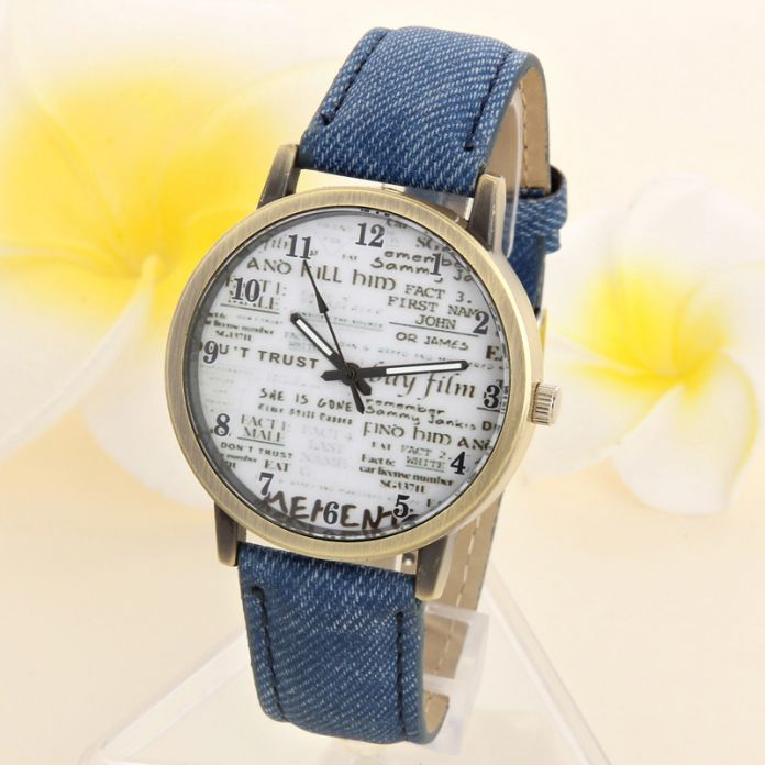Luxury Brand Мужская Повседневная Кварцевые Аналоговые Спорт Джинсовой Ткани Газета Большой Циферблат Часов Аналоговый Кварцевые Наручные Часы часы