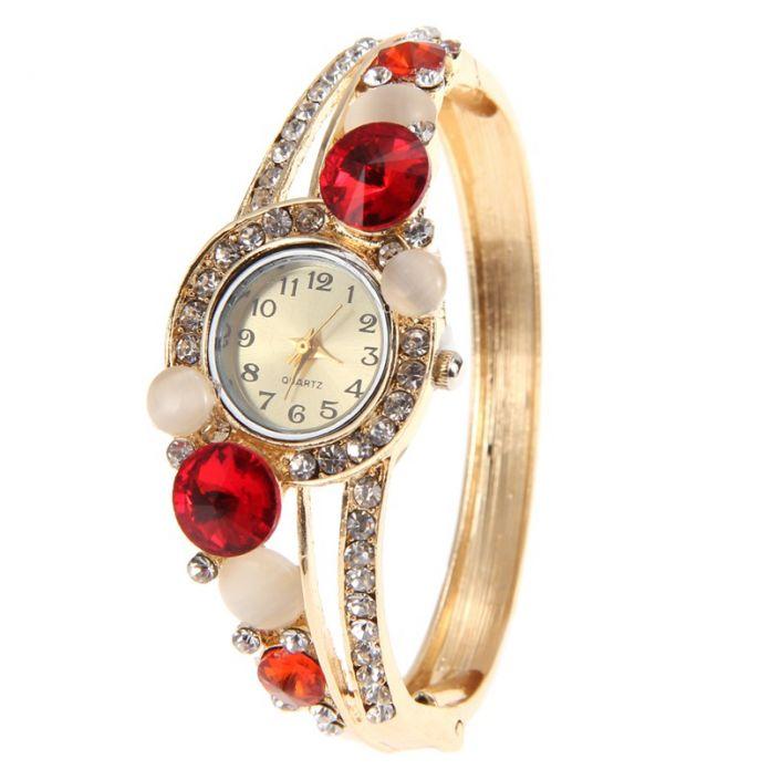 6 цветов мода женские часы горный хрусталь кристалл часы цветок reloj mujer браслет часы кварцевый женские часы