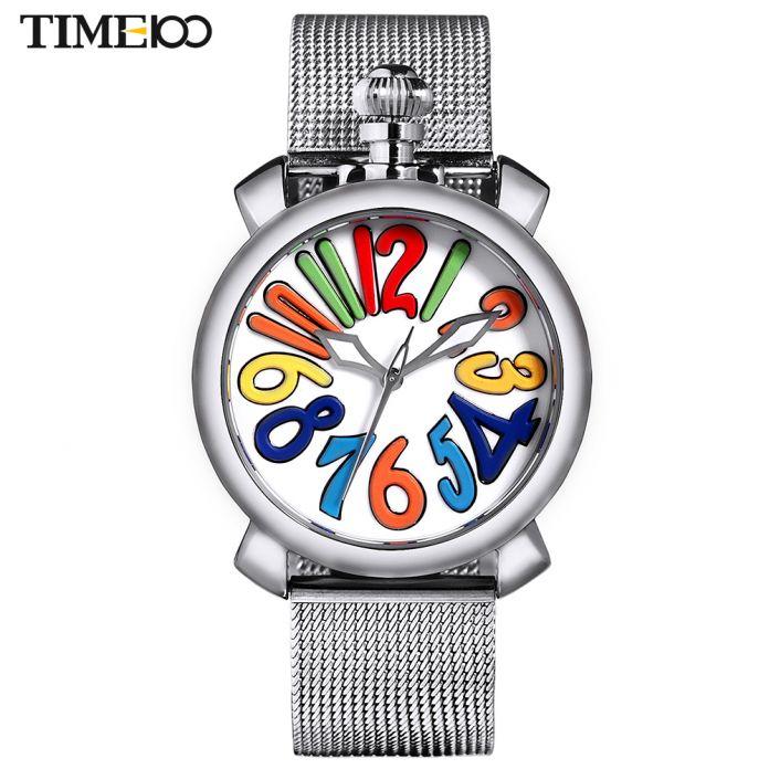 Time100 Женские Часы Наручные сетчатый ремешок из Нержавеющей Стали Большой Циферблат Gaga Кварцевые Часы Женщины индивидуальные часы