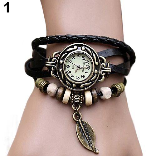 Горячие высокое качество часы женские наручные натуральная кожанный браслет винтажный оригинальный стиль часы листья  наручные часы браслет женские смотреть женщины