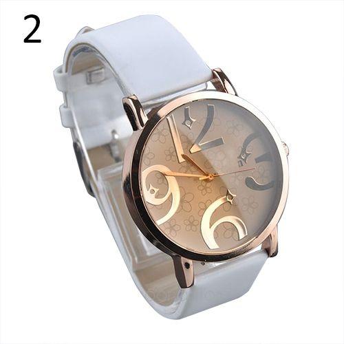 Элегантные дамы часы женские наручные свободного покроя цветы большие цифры циферблатом искусственного кожаный ремешок кварцевые наручные часы для женщин часы женские с матерчатым ремешком