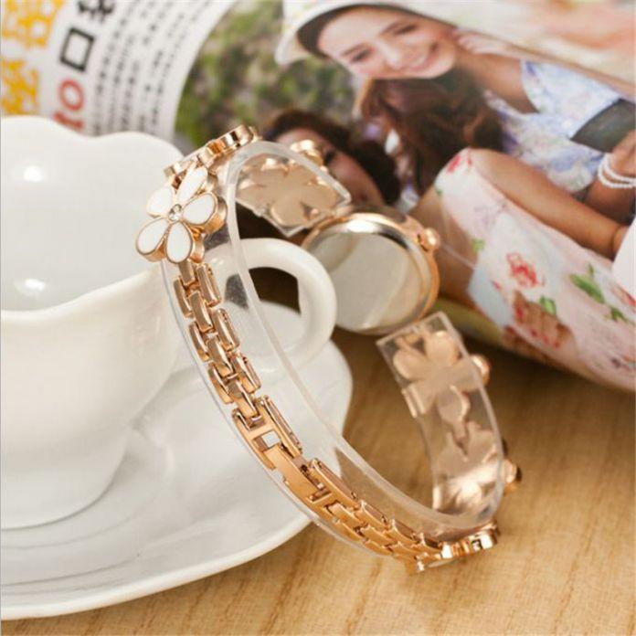 Фантастические 2016 женская Мода часы Ромашки Цветок розового Золота Браслет Наручные Часы Женщины Подарок Бесплатная доставка Июня 28